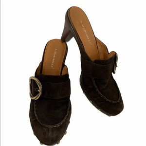 A.Marinelli brown suede slip ons size 9